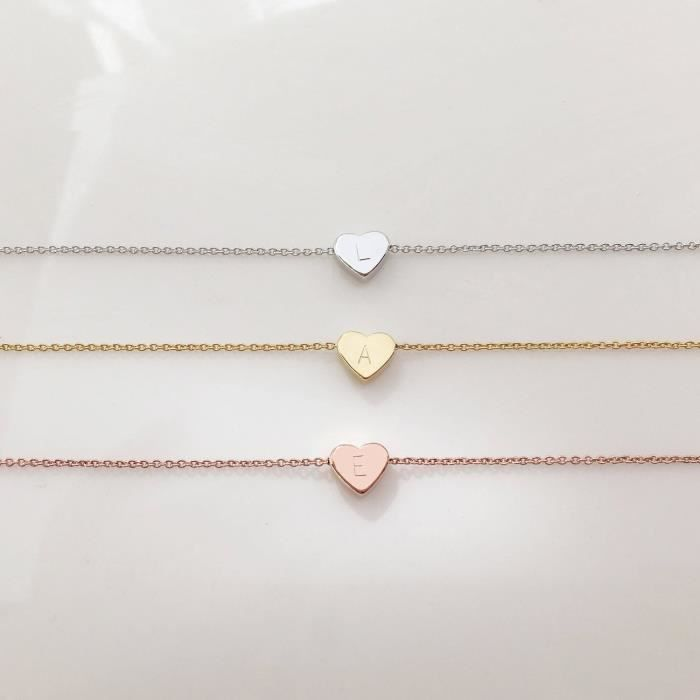 Womens Gold Initial Necklace Valentines Day Gifts For Her Personalized Necklace Heart Necklace -K9QC9