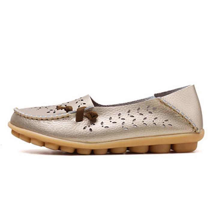 Mocassin Femmes Printemps Ete Mode Classique Plat Chaussure BBDG-XZ086Blanc36