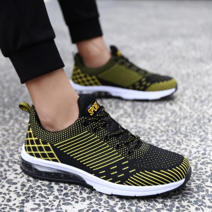 2019 Baskets Sneaker Hommes Chaussures Air Coussin Espadrilles Jaune