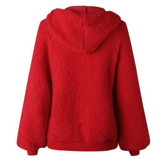 Manches Longues Chemisier Rouge Chemises Zipper Femmes Pull Manteau Capuche Sweat wq5aO5CvUn