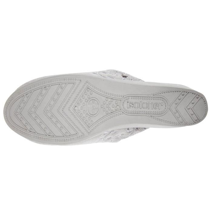 Chaussons mules talon femme broderies