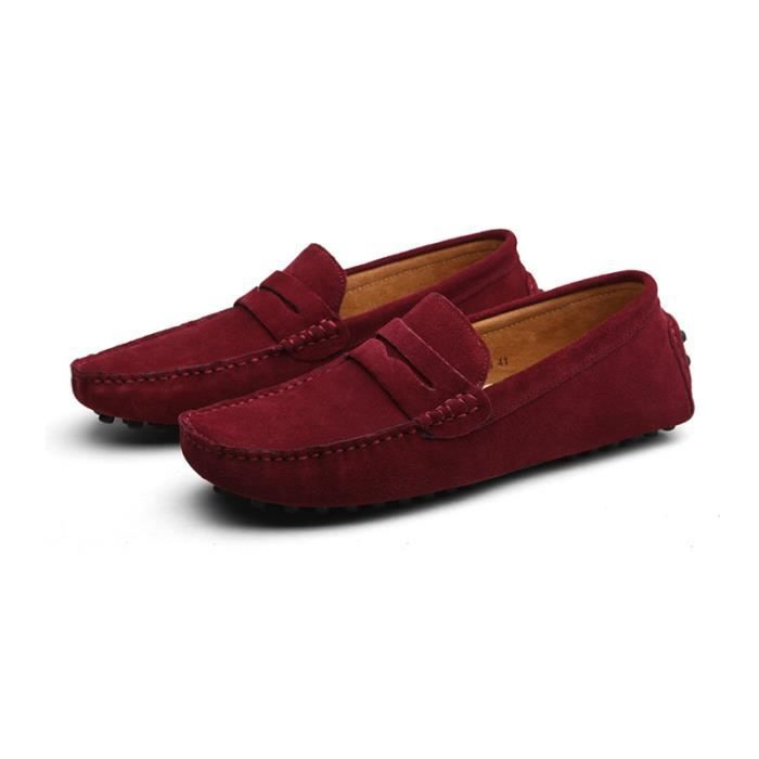 Mocassins Hommes Cuir Ultra Comfortable Appartements Chaussures LKG-XZ071Rouge43