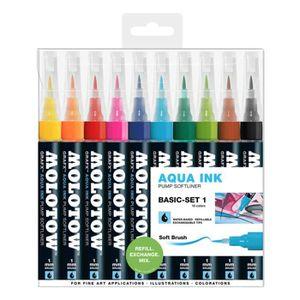 FEUTRES MOLOTOW GRAFX AQUA INK PUMP SOFTLINER BASIC SET 1