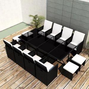 Table chaises jardin resine tressee noir - Achat / Vente pas cher