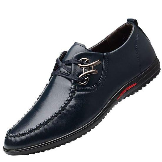 Homme Souple Chaussures Pour D'affaires Conduite Mode Bleu En Derbies Cuir Décontractée De 80NnwOvm