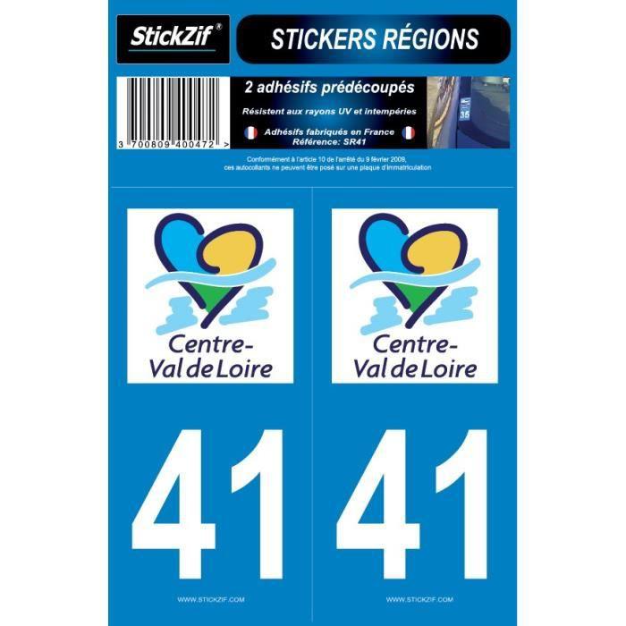 STICKZIF 2 Autocollants Région Département 41 SR41