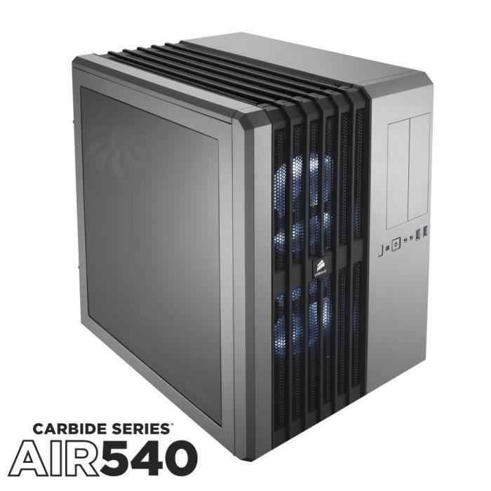 CORSAIR Boitier Moyen Tour Carbide Air 540 - Argent - Fenêtre en Plexiglass (CC-9011034-WLED)
