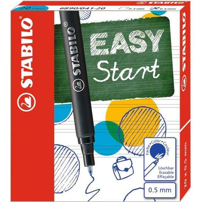 STABILO EASY - Boite de 20 recharges original 0,5 mm - encre bleue effaçable