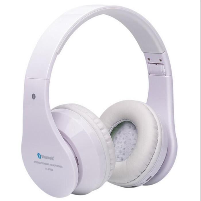 Casque Bluetooth Ecouteur Nouvelle Mode Sans Fil Sport Durable Ecouteurs Blanc