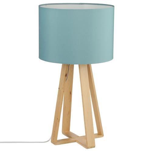 lampe pied en bois h 47 5 cm bleu achat vente. Black Bedroom Furniture Sets. Home Design Ideas