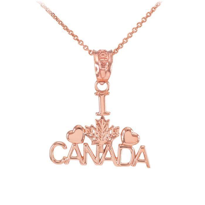 Collier Femme Pendentif Poli 10 Ct Or Rose I Love Canada (Livré avec une 45cm Chaîne)