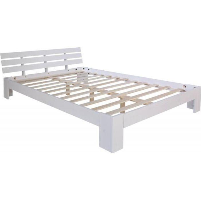 lit double 2 personnes avec sommier lattes en bois blanc 180x 200cm lit06161 achat vente. Black Bedroom Furniture Sets. Home Design Ideas
