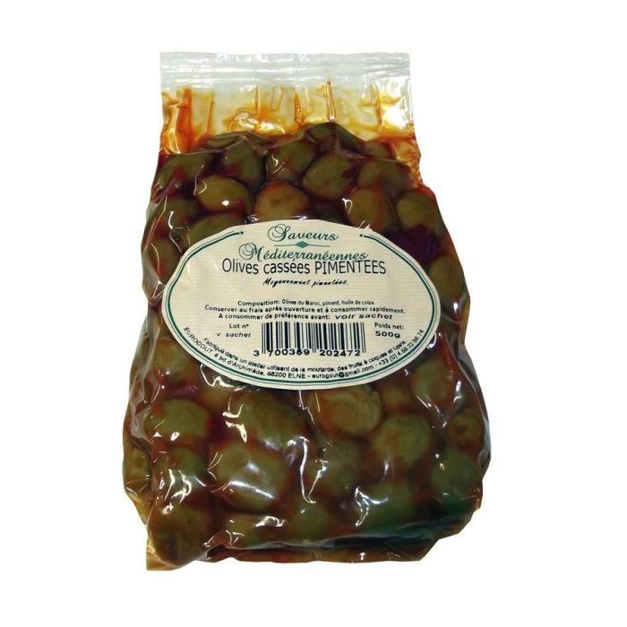 OLIVE Olives Cassées Pimentées 500gr
