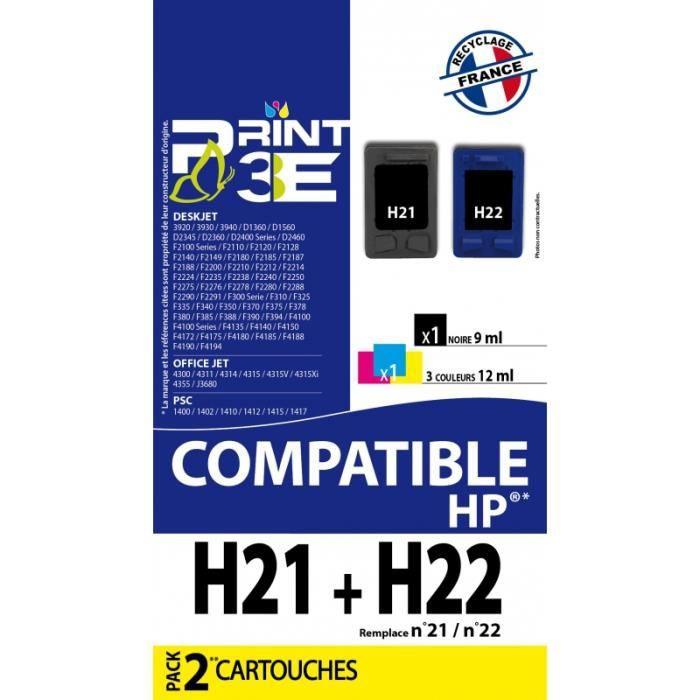f162069964d301 H21+ H22 HP21+HP22 - Pack de 2 cartouches compatibles HP - Prix pas ...