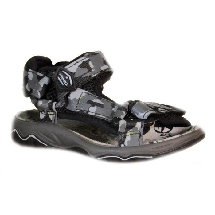 Primigi Sandales pour Garçon Noir Toile Velcro 69313