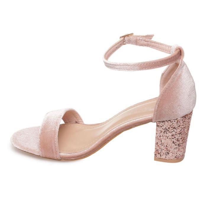 La Modeuse - Sandales en velours à talon épais doté de paillettes doré rose 76f9e9cf2c5b