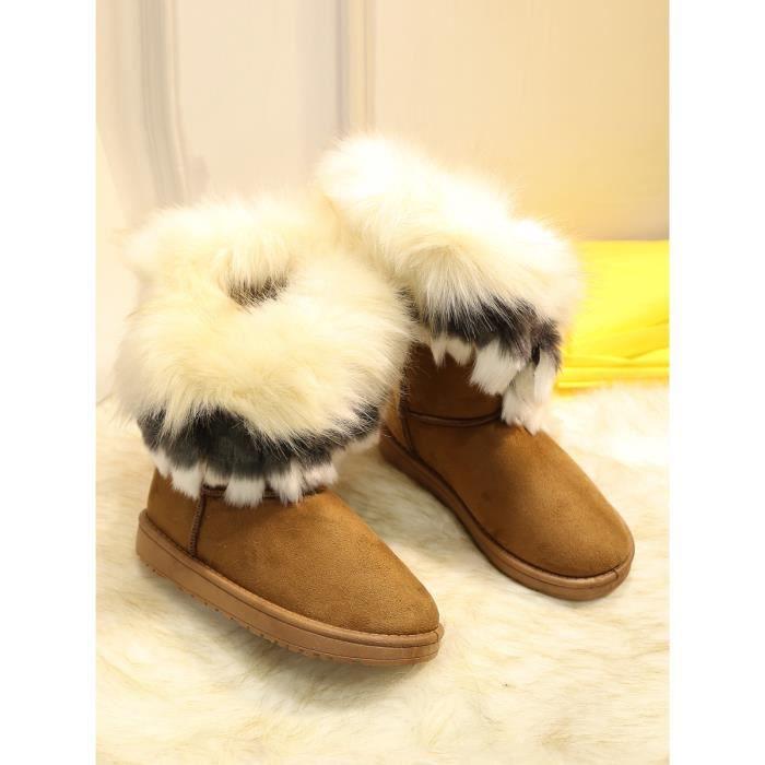 Chaussures femme d'hiver imitation Fox cheveux chaud en peluche intérieur élégant Bottes de neige 11834888 vVwVSOyJ4