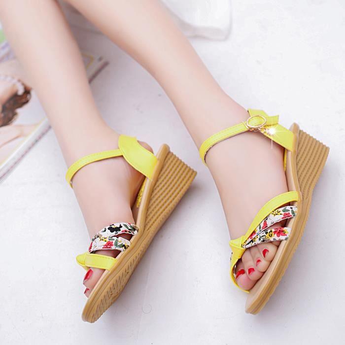 jaune toe Peep Femmes Romaines Chaussures Dames Sandales Tongs D't Basses xnpwgznUq