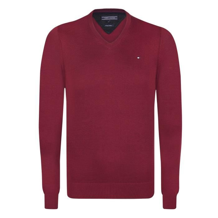 fad2d030b9402 TOMMY HILFIGER Pull Pacific - Homme - Rouge Rouge Rouge - Achat ...