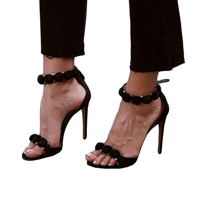 Boucle Nouvelles Rivet De Femmes Talons Courtes Noir Peep Bottes Sandales Sexy Hauts Toe TWnqtxxH