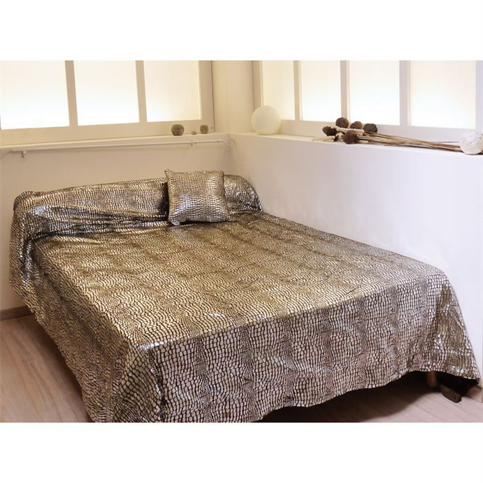 Couvre lit 220x240 cm crocodile marron achat vente for Absolument maison linge de lit