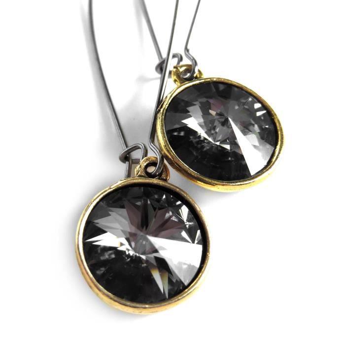 Craze Cristal Boucle doreille de diamant Dans Round Bezels Gold-Tone, cristal Swarovski Rivolis