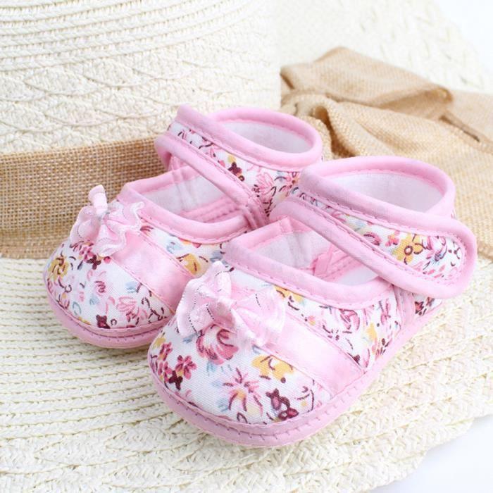 Frankmall®Bébé filles Douce semelle bowknot Imprimer anti-dérapant chaussures Casual ROSE#WQQ0926065 jDqe0Xb