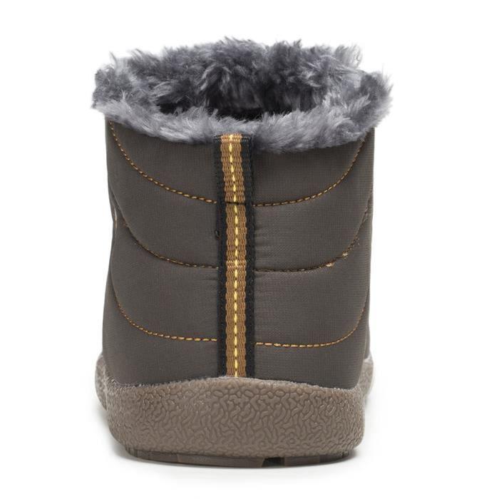 Bottes de neige anti-dérapant imperméable hiver Chaussons d'extérieur fourrure doublé Bottines FU6N6 Taille-41