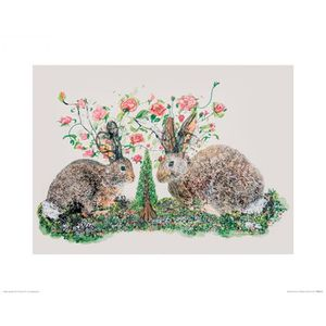 AFFICHE - POSTER Poster Reproduction Lapins - Rabbits And Roses, Ka