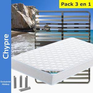ENSEMBLE LITERIE Chypre - Pack Matelas + AltoZone 140x200 + Pieds