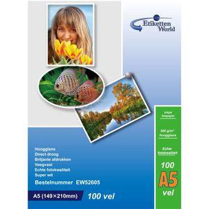 PAPIER PHOTO EtikettenWorld - 100 Feuilles Papier Photo A5 148x