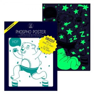 AFFICHE - POSTER Poster Ours Phosphorescent - OMY Blanc Et Turquois