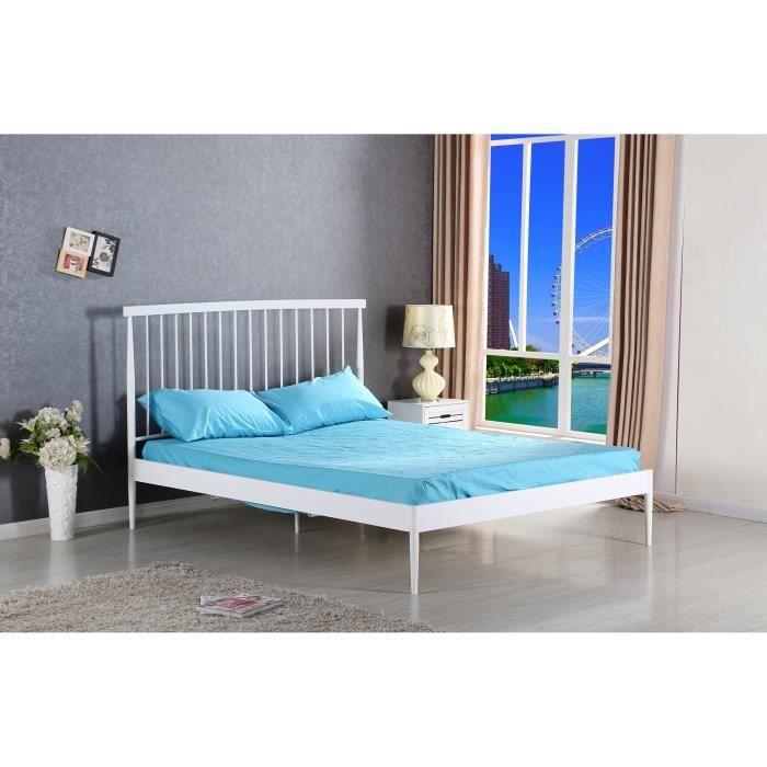 Métal - Blanc - l 140 x L 190 cm x H 110 cm - Tête de lit + sommier inclusSTRUCTURE DE LIT
