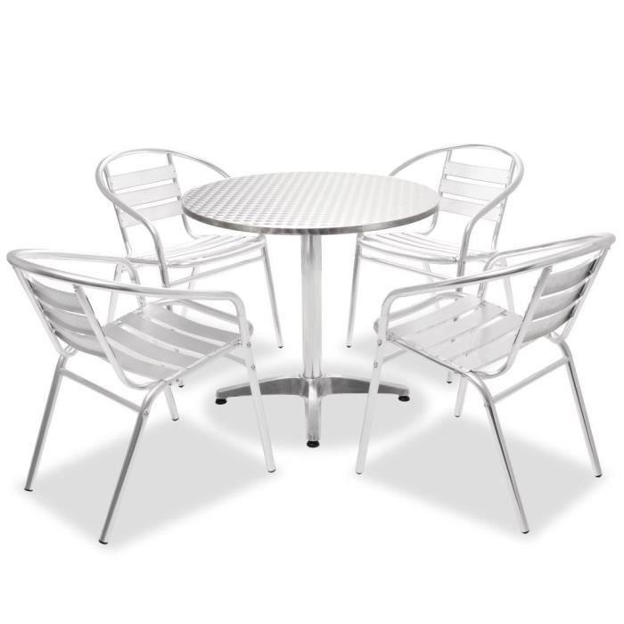 Ensemble Table Et Chaises 5 Pieces En Aluminium Balcon Jardin Bar Restaurant Empilable Ronde