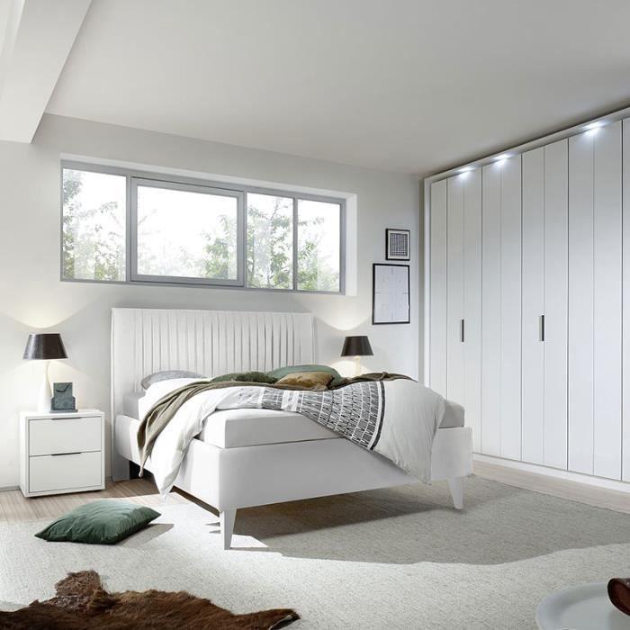Chambre à Coucher Blanc Laqué Mat VENISE L 180 X P 200 Cm