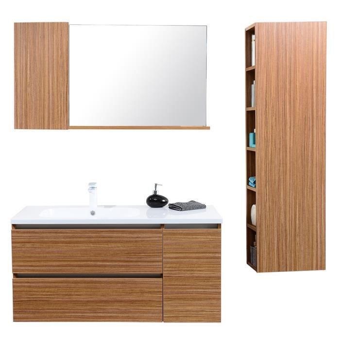 Meuble de salle de bain simple vasque avec colonne de rangement