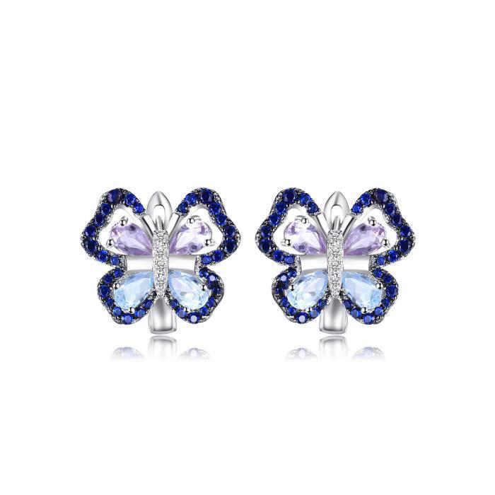 JewelryPalace 4.8ct Naturel Améthyste Ciel Bleu Topaze Papillon Clips Créoles Boucles dOreilles en Argent 925
