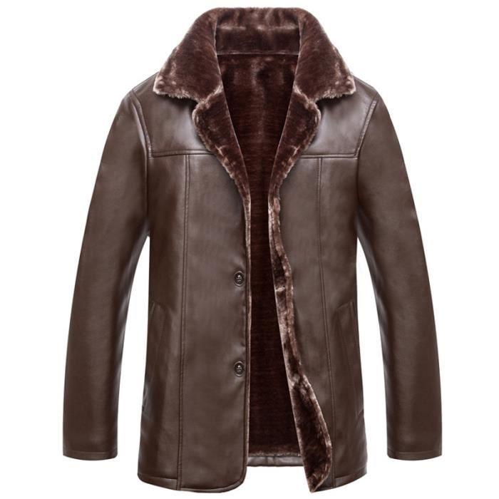 manteau fourrure homme hiver marque paissir faux cuir blouson homme caf achat vente veste. Black Bedroom Furniture Sets. Home Design Ideas