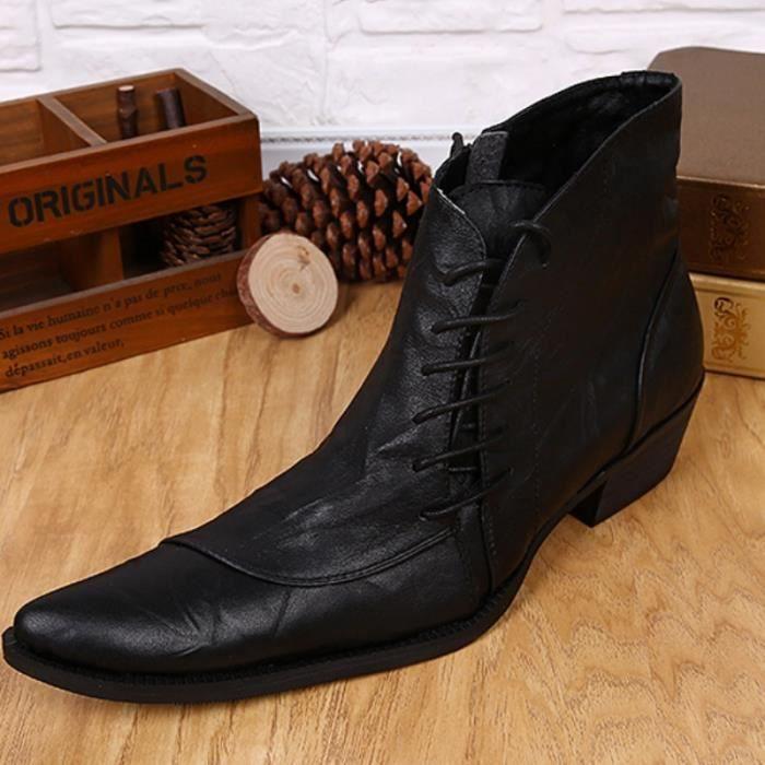 2015 Fashion Style à lacets Bottes d'homme Bottes Martin Bottes bout pointu équitation Handsome pour Chaussures Hommes Taille Plus