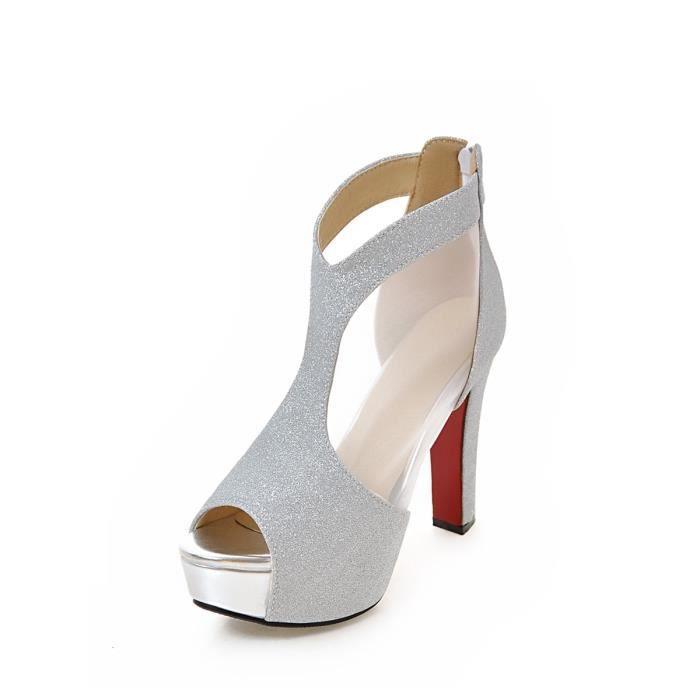 Sandales élégantes Peep Toes Chaussures à plate-forme de talon épais Patchwork 4042750