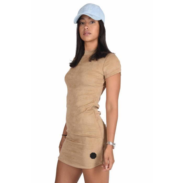 Femme En Robe Moulante robe moulante effet daim à manches courtes femme project x paris (m