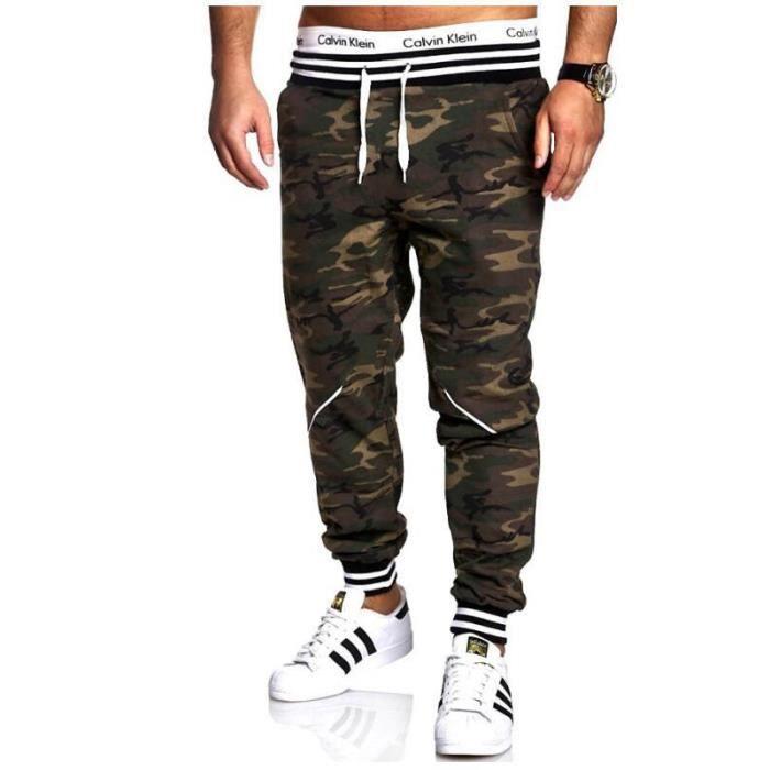 mieux choisir plus gros rabais Style classique Pantalon Homme Camouflage baggy Casual Pantalon Cordon VêTement Masculin