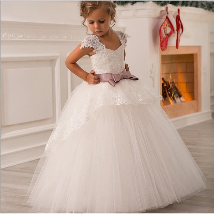 6e469fff03015 Fille Appliques Robe de Princesse Longue en Dentelle Robe de Première  d'honneur pour les mariages Tulle Bow Lace Robes 2-3 ans