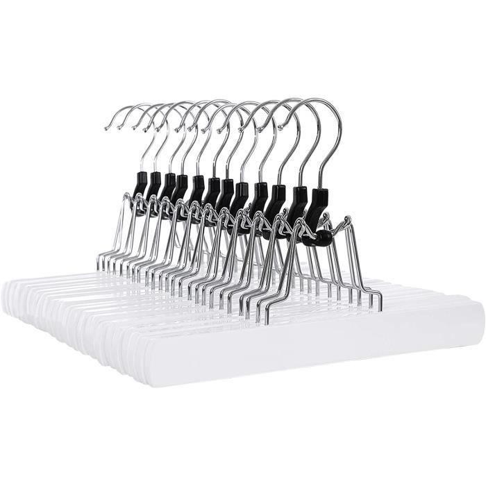 lot de 12 cintres pinces pour pantalons et jupes en bois anti glissement blanc songmics crw07w. Black Bedroom Furniture Sets. Home Design Ideas