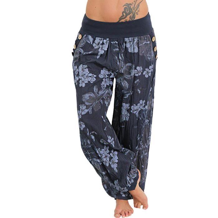 Poche Imprimer Pantalon Vrac Pantalons ë Bouton Femmes De Sarouel En Large Casual q50wOFZ
