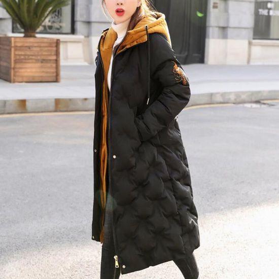 Long Parka Femmes Coton Capuche Slim Jacket Outwear Noir Chaud Épais Hiver Pardessus WOq70Iq