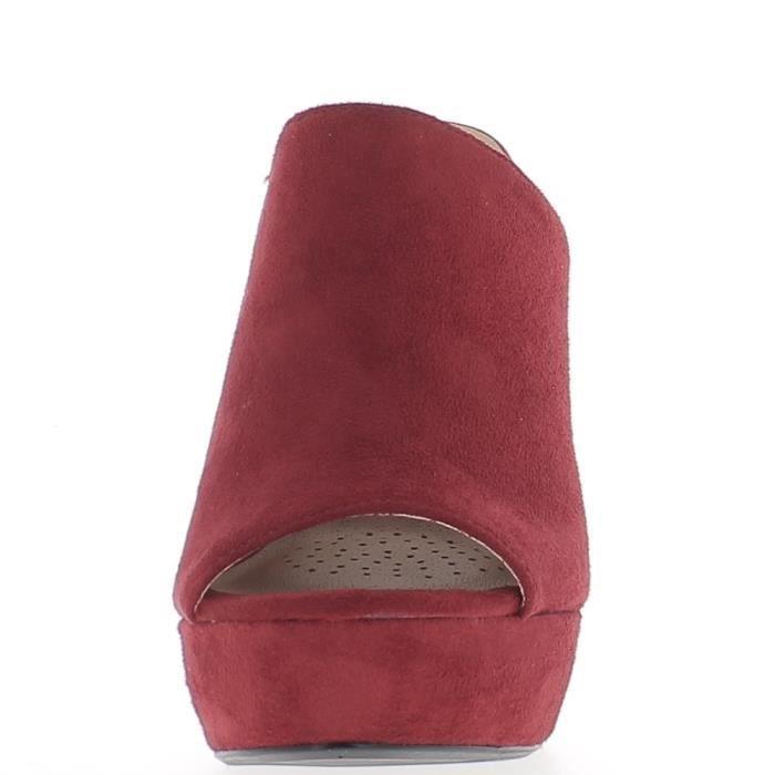 Sabots rouges à talons épais de 13,5cm et plateforme aspect daim