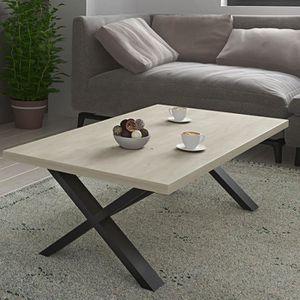 Table De Salon 130 Cm Moderne Couleur Chêne Clair Et Noir Beatrice L 130 X P 70 X H 40 Cm Noir