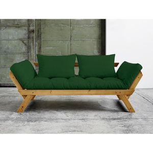 FUTON Canapé convertible en bois miel avec matelas futon