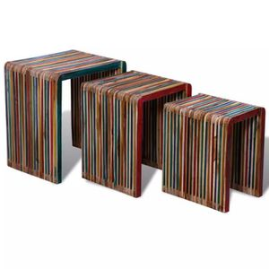 TABLE BASSE KKmoon Table Gigogne 3 pcs Teck Tables D'appoint T